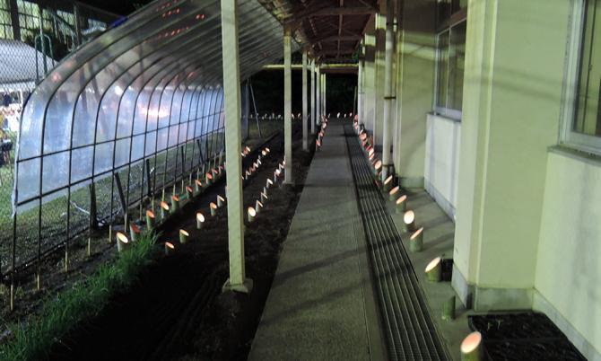 廊下を照らす竹灯籠ロード