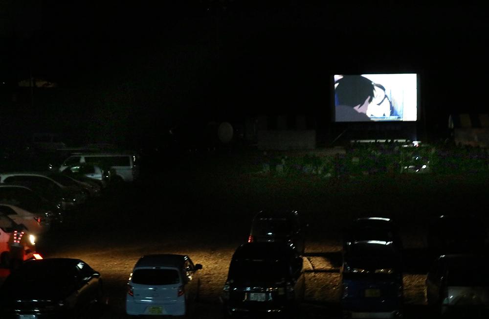 星空映画館上映中の様子